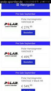 Polar Vantage V und Vantage M in einem Onlineshop