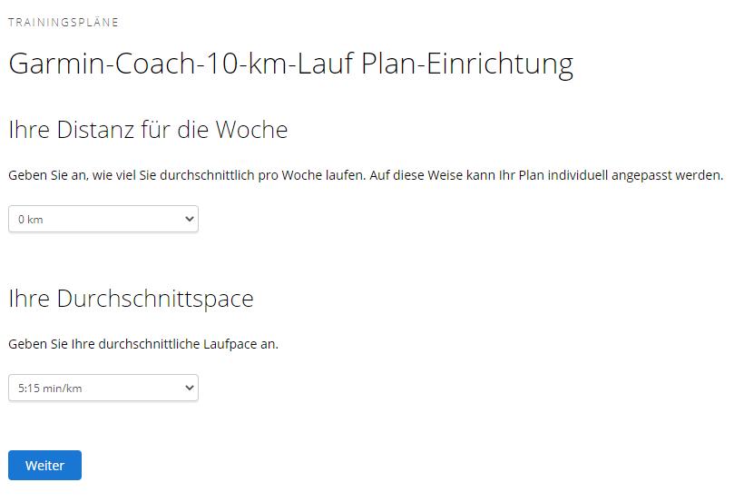 Garmin Coach: Ist-Zustand
