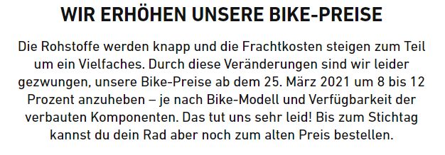Pressemitteilung Rose Bike Preiserhöhung